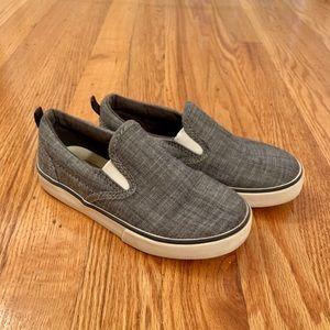 Boys Chambray Slip-On Sneaker, size 11.